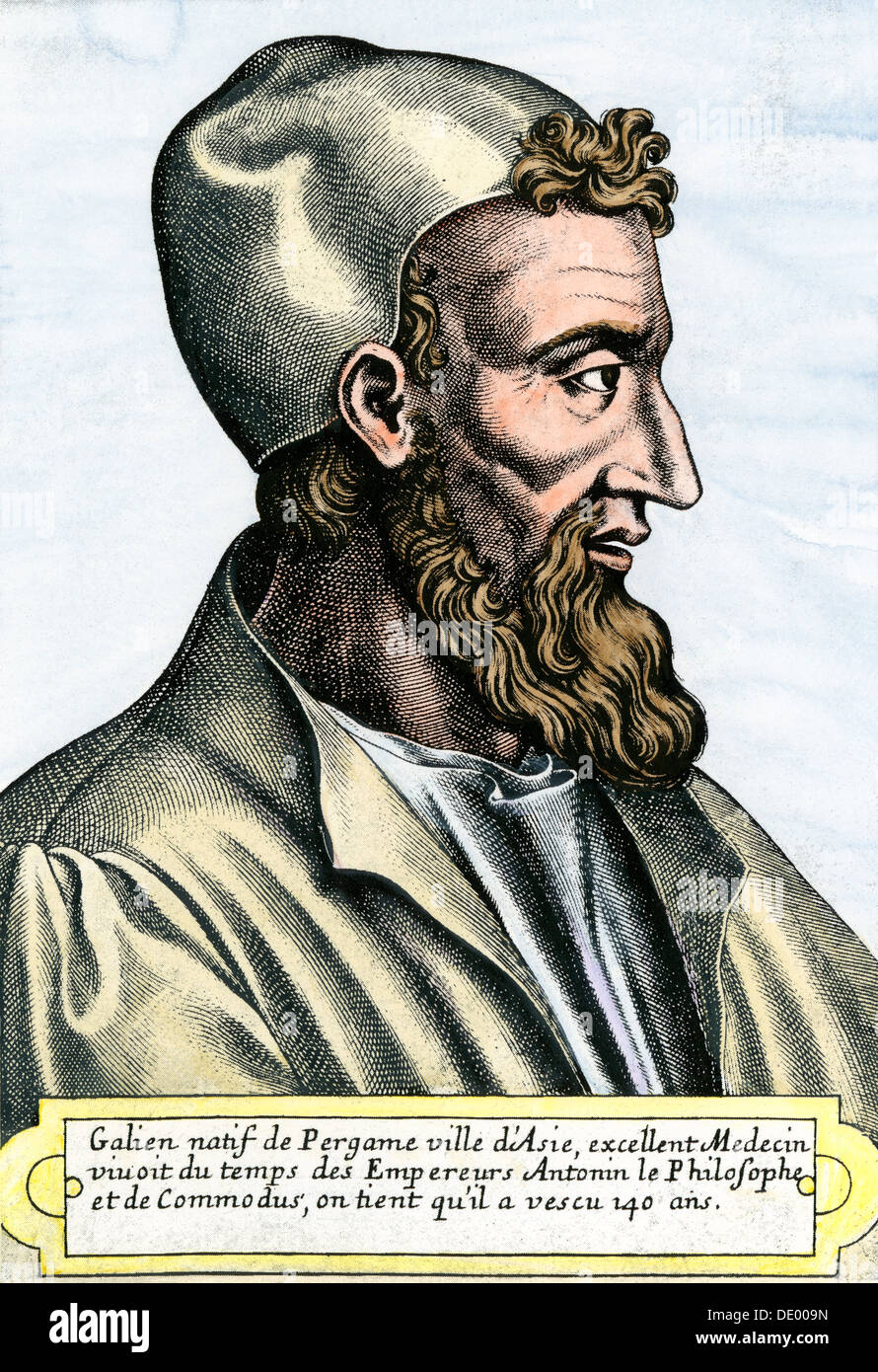 Galen, physician in the Roman Empire, second century AD. Hand-colored engraving - Stock Image