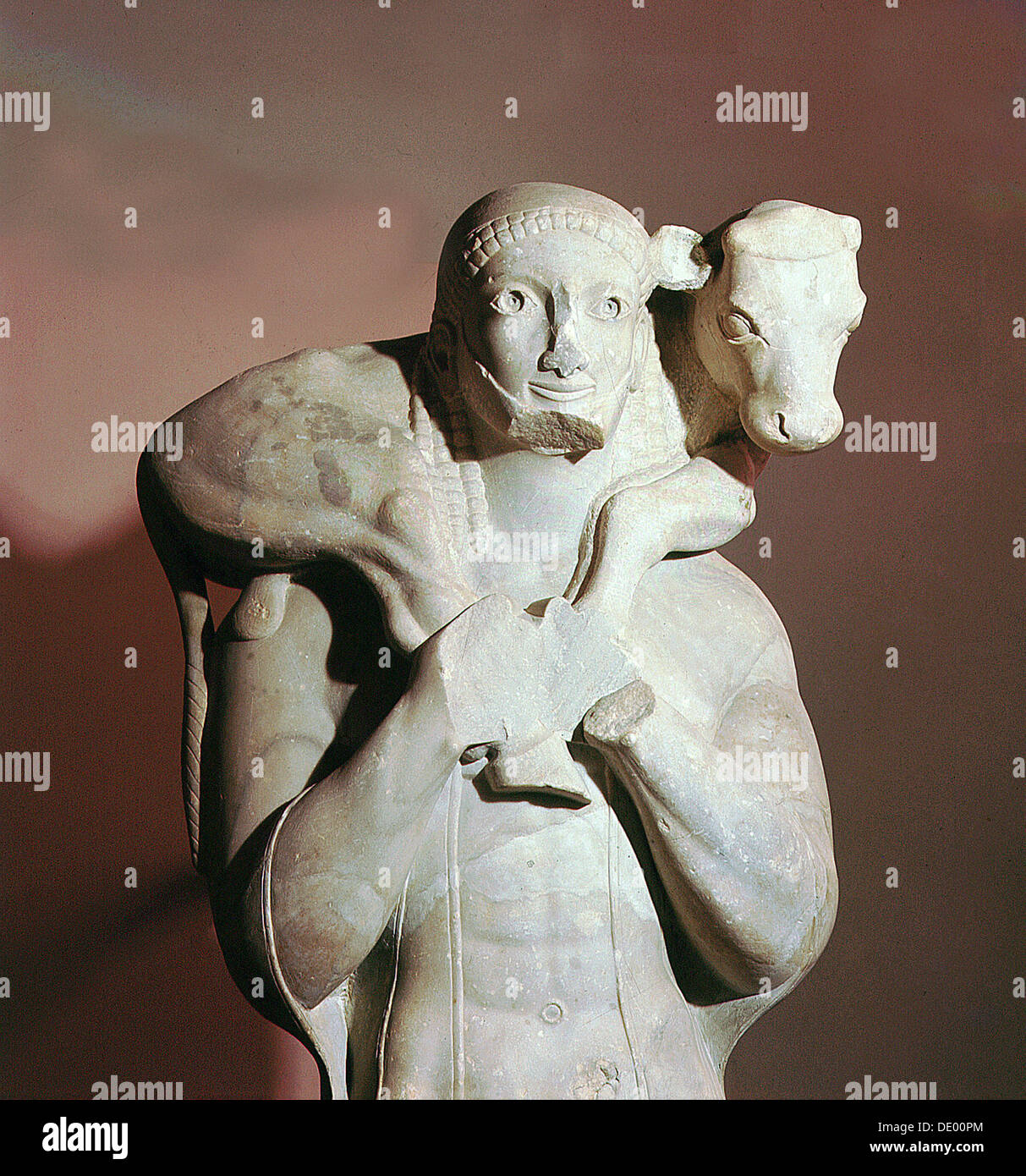 The Calf-bearer (Moschophoros), Ancient Greek, from Athens, Archaic period, c570 BC. Artist: Werner Forman - Stock Image