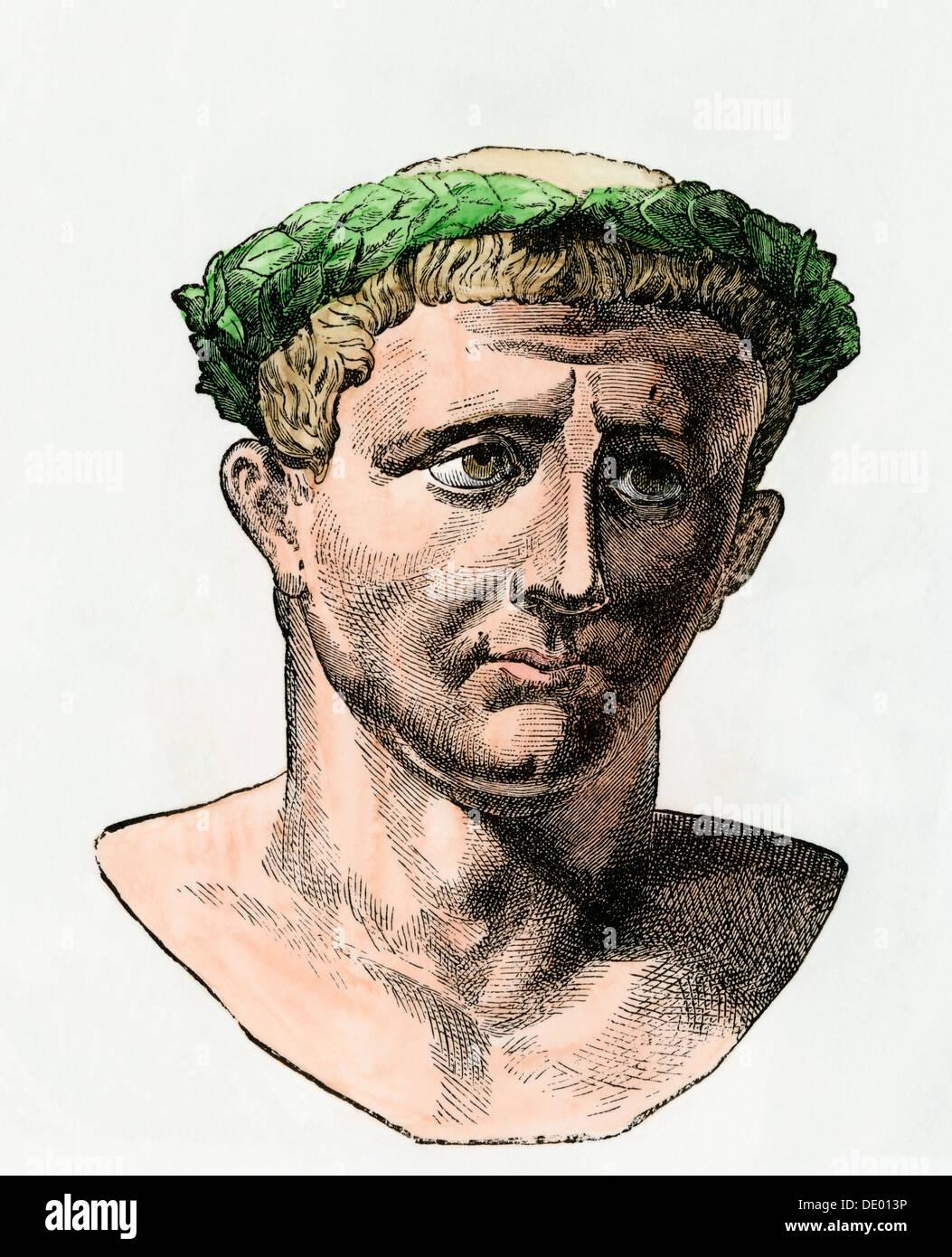 Roman Emperor Claudius I. Hand-colored woodcut - Stock Image