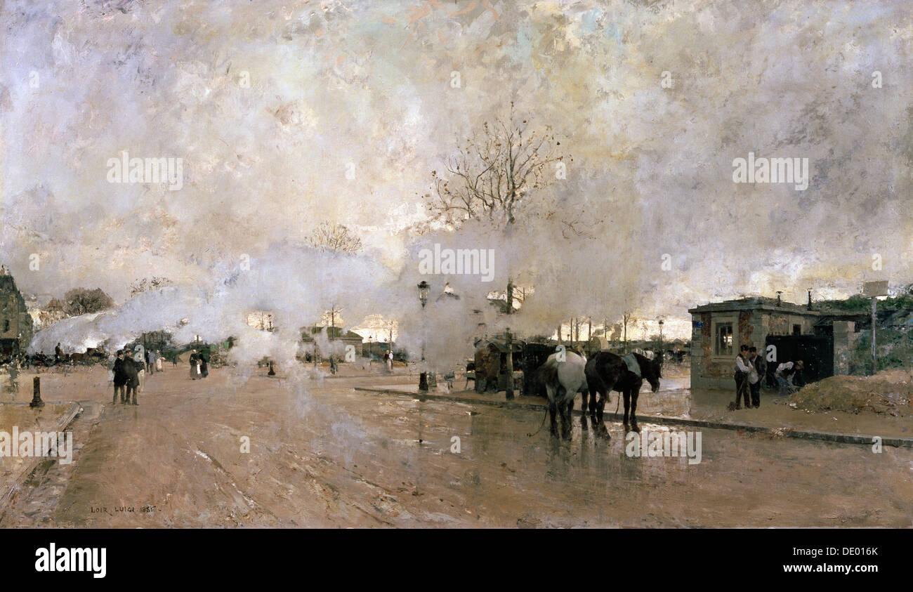 'Smoke on the Paris Circuit Line', 1885.  Artist: Luigi Loir - Stock Image