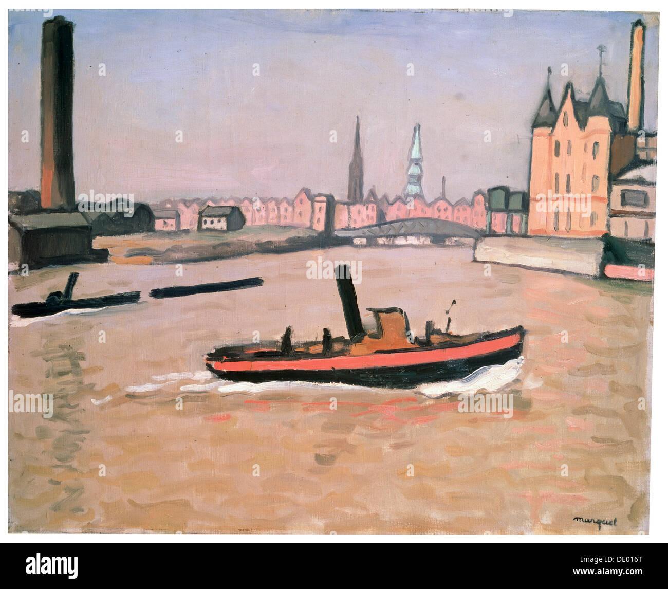 'The Port of Hamburg', 1909.  Artist: Albert Marquet - Stock Image