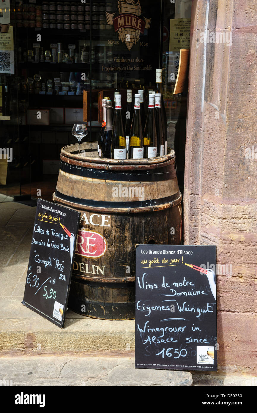 Local wine for sale outside a shop in Colmar, Alsace, France - Stock Image