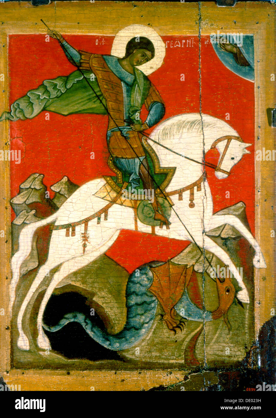 'Saint George and the Dragon', late 14th century. - Stock Image