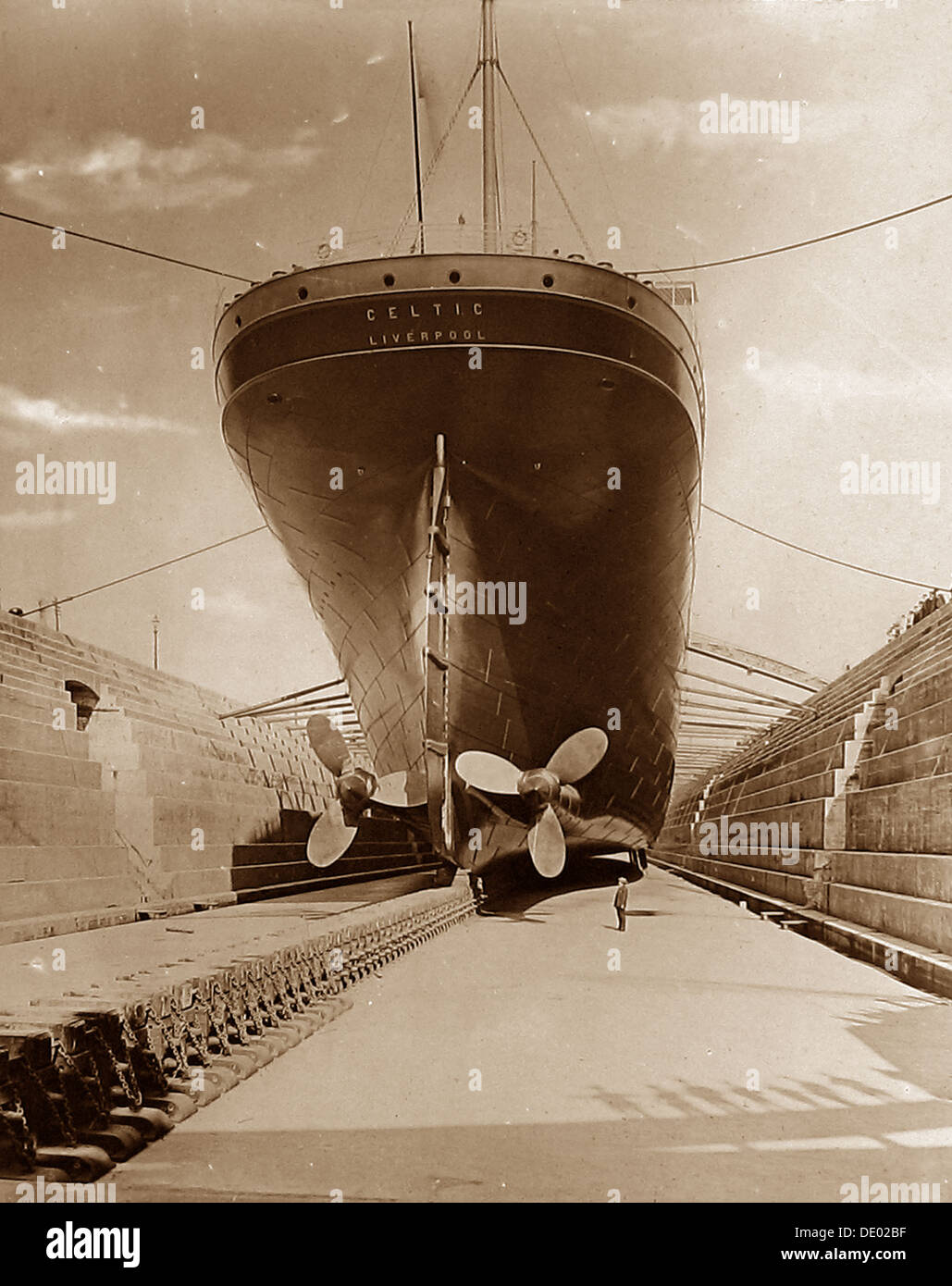 White Star Line RMS Celtic in dry dock early 1900s - Stock Image