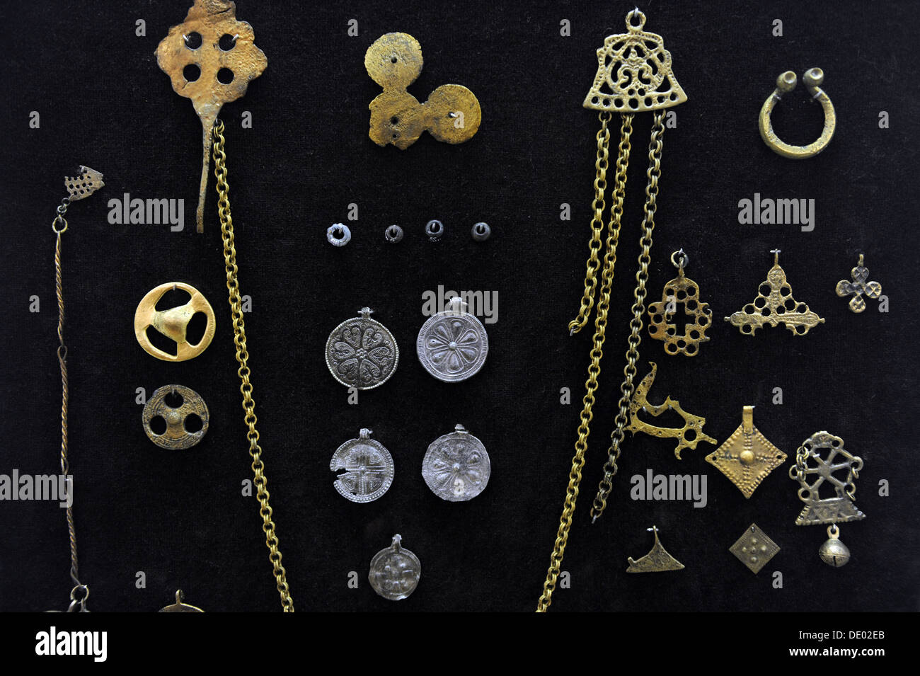 Middle Ages. Jewels. 12th-13th Centuries. Museum of History and Navigation. Riga. Latvia. - Stock Image