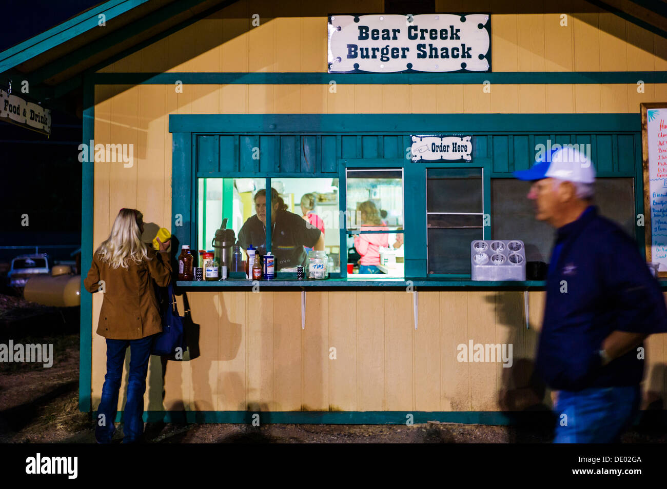 Visitors buying food at the Chaffee County Fair & Rodeo - Stock Image