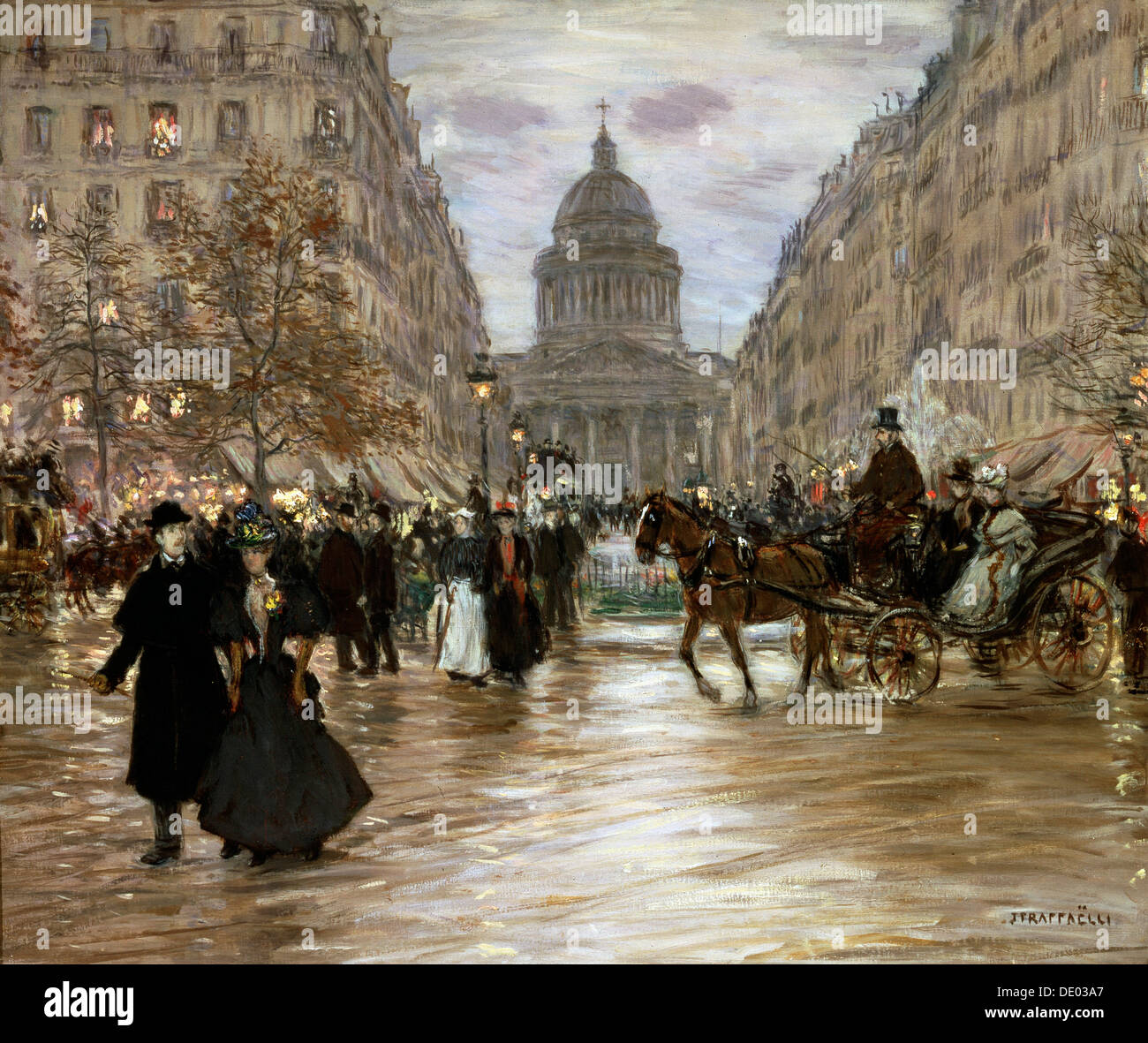 'Boulevard Saint-Michel', late 19th or early 20th century.  Artist: Jean Francois Raffaelli - Stock Image