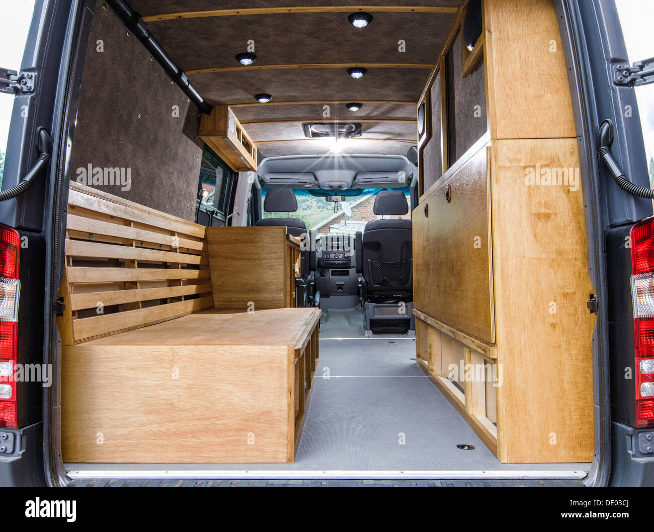 Interior View Of Mercedes Benz Sprinter Cargo Van 2500, Being Customized As  A Camper
