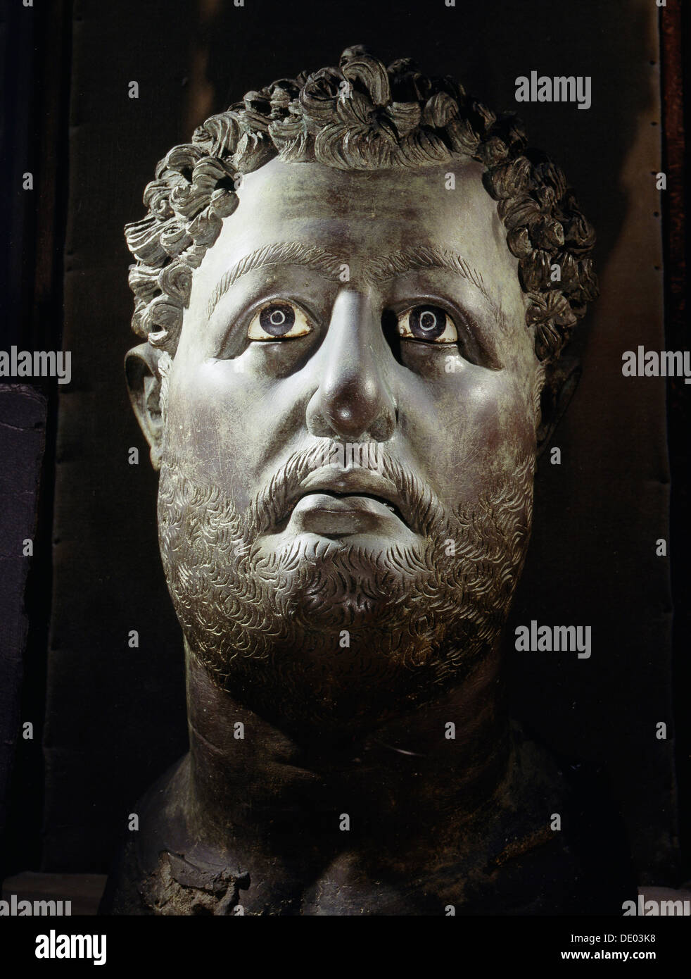 Colossal bronze head of the Roman Emperor Hadrian, from Egypt, c130-131. Artist: Werner Forman - Stock Image