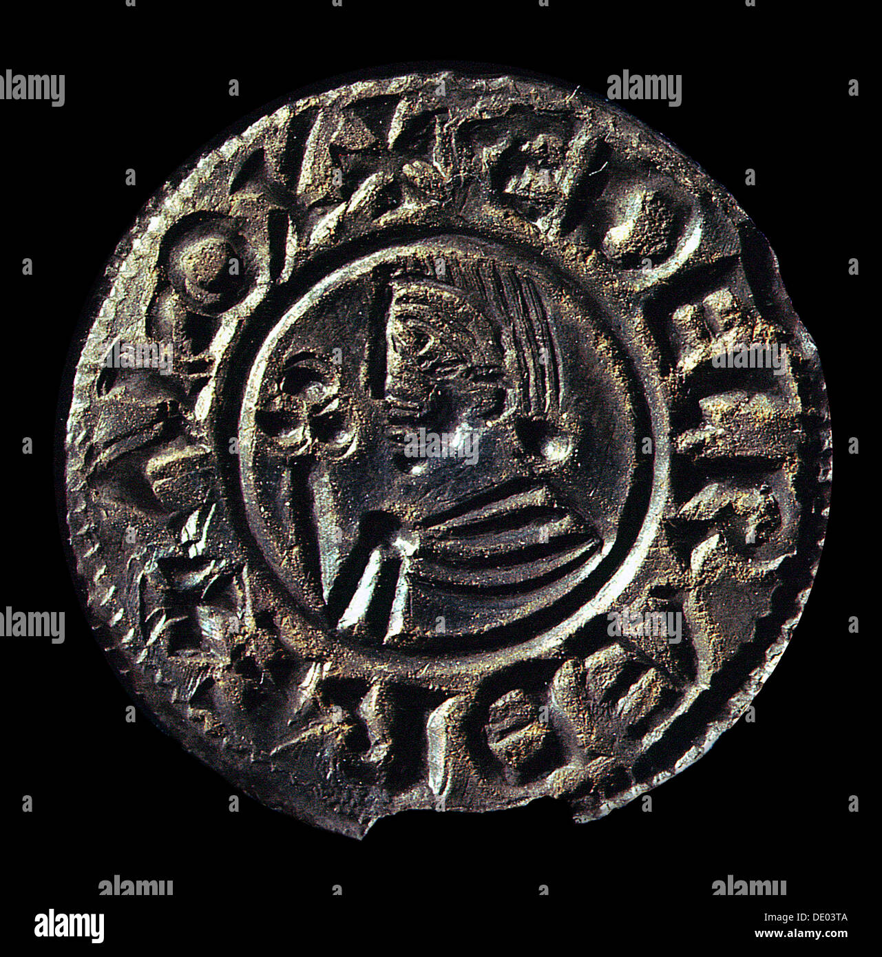 Silver penny of Ethelred II, Anglo-Saxon, late 10th or early 11th century. Artist: Werner Forman - Stock Image
