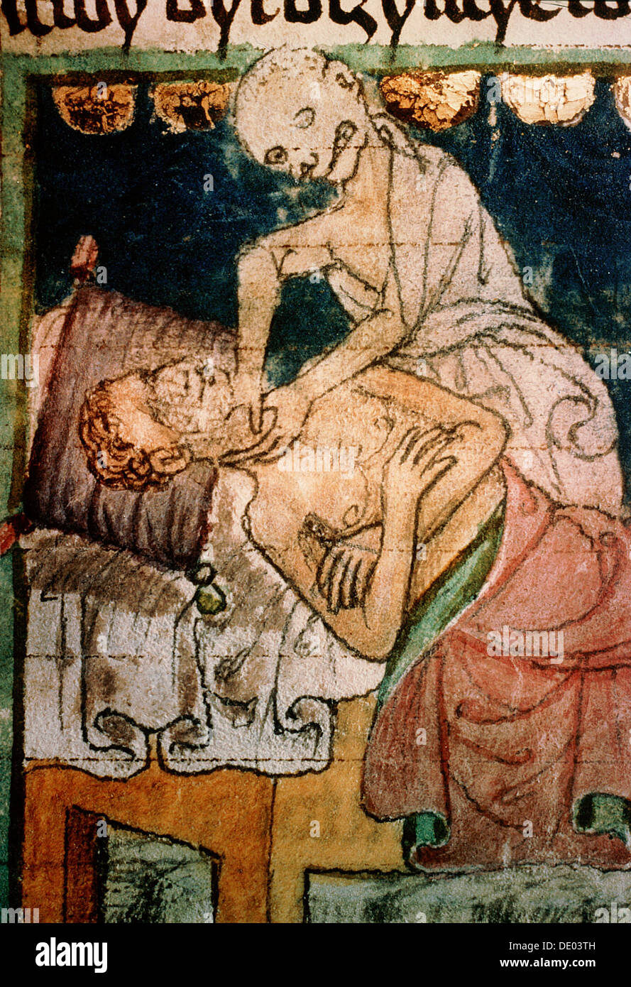 Death strangling a victim of the Black Death, 1376. Artist: Werner Forman