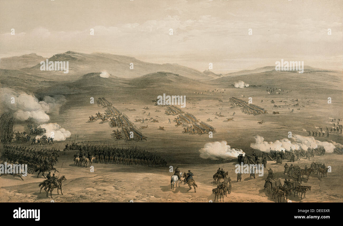 The Charge of the Light Brigade at the Battle of Balaclava, 25 October 1854, 19th century. Artist: William Simpson - Stock Image