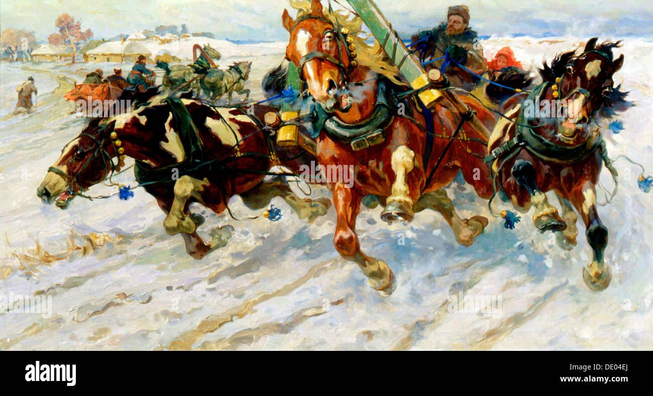 'Troika', 1917.  Artist: Nikolai Samokish - Stock Image