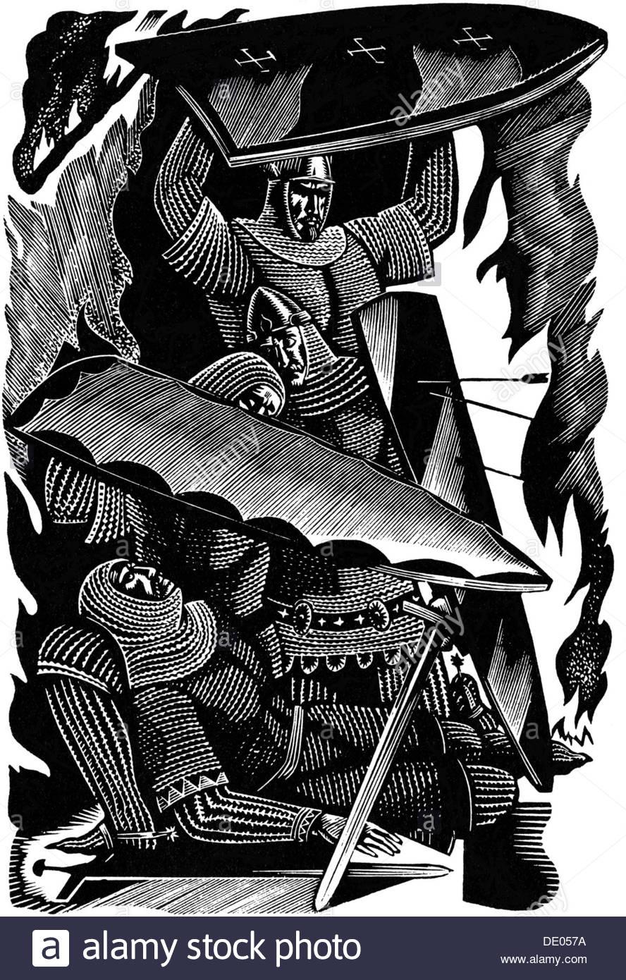 Illustration from the English epic poem Beowulf, 1975.  Artist: Vladimir Noskov - Stock Image