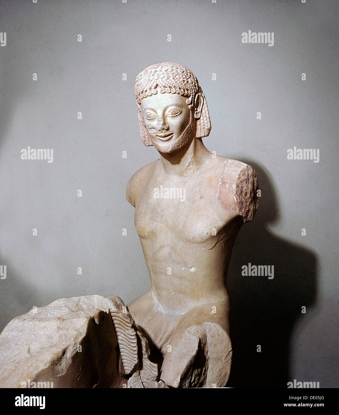 Marble figure of a horseman, Ancient Greek, Archaic period, c560 BC. Artist: Werner Forman - Stock Image