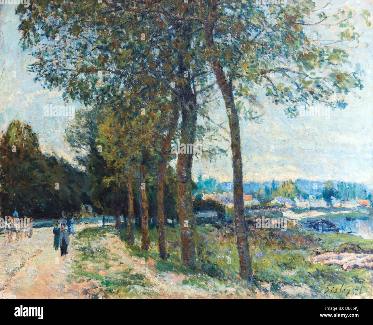 19th century  -  The Seine at Marly, 1876 - Alfred Sisley Philippe Sauvan-Magnet / Active Museum oil on canvas - Stock Image
