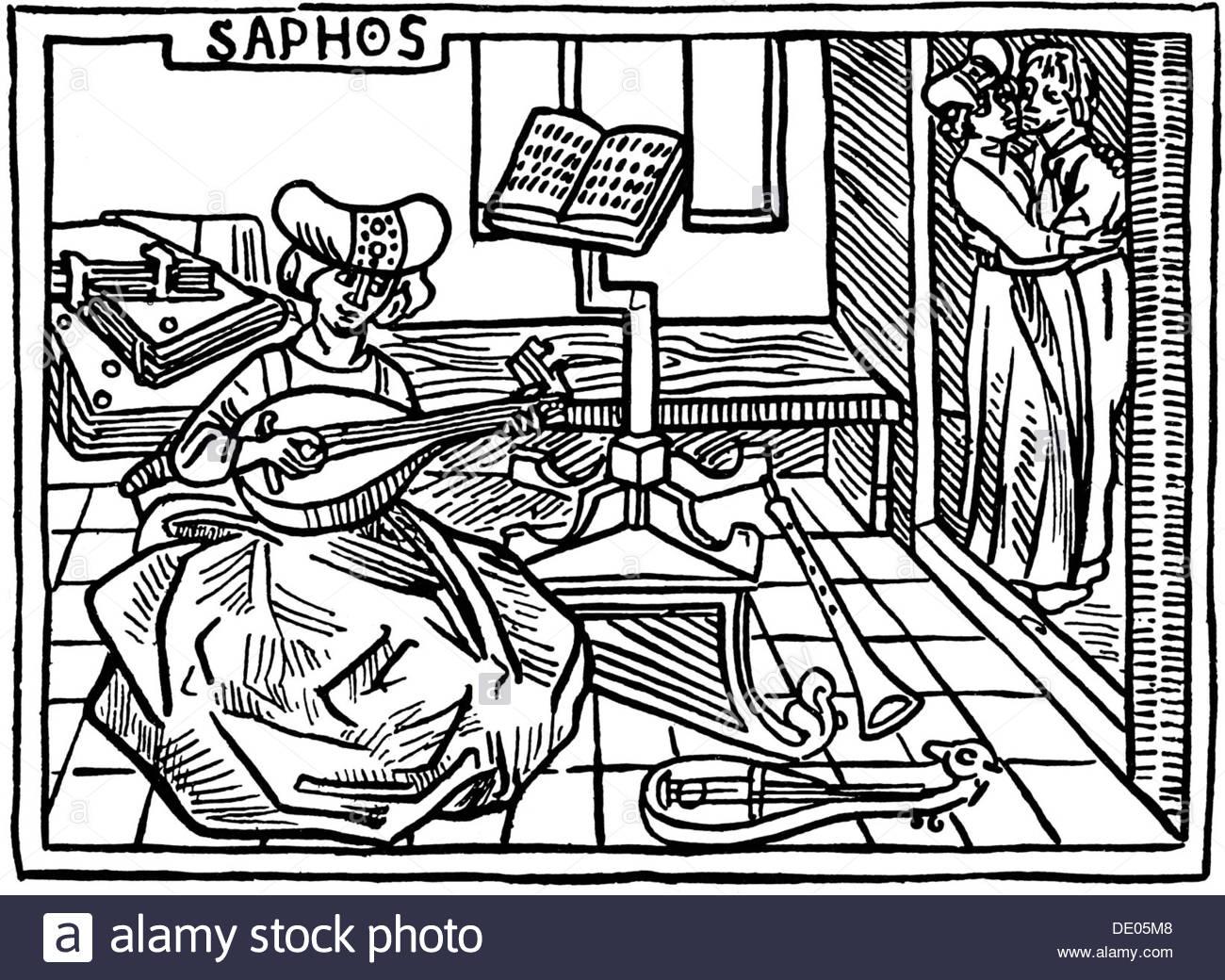 Sappho, illustration from the book De mulieribus claris, by Giovanni Boccaccio, 1473. - Stock Image