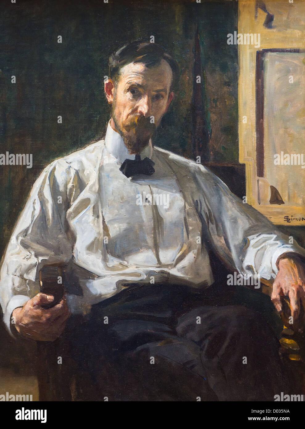 20th century  -  Self-Portrait, 1908 - Lucien Simon Philippe Sauvan-Magnet / Active Museum oil on canvas - Stock Image