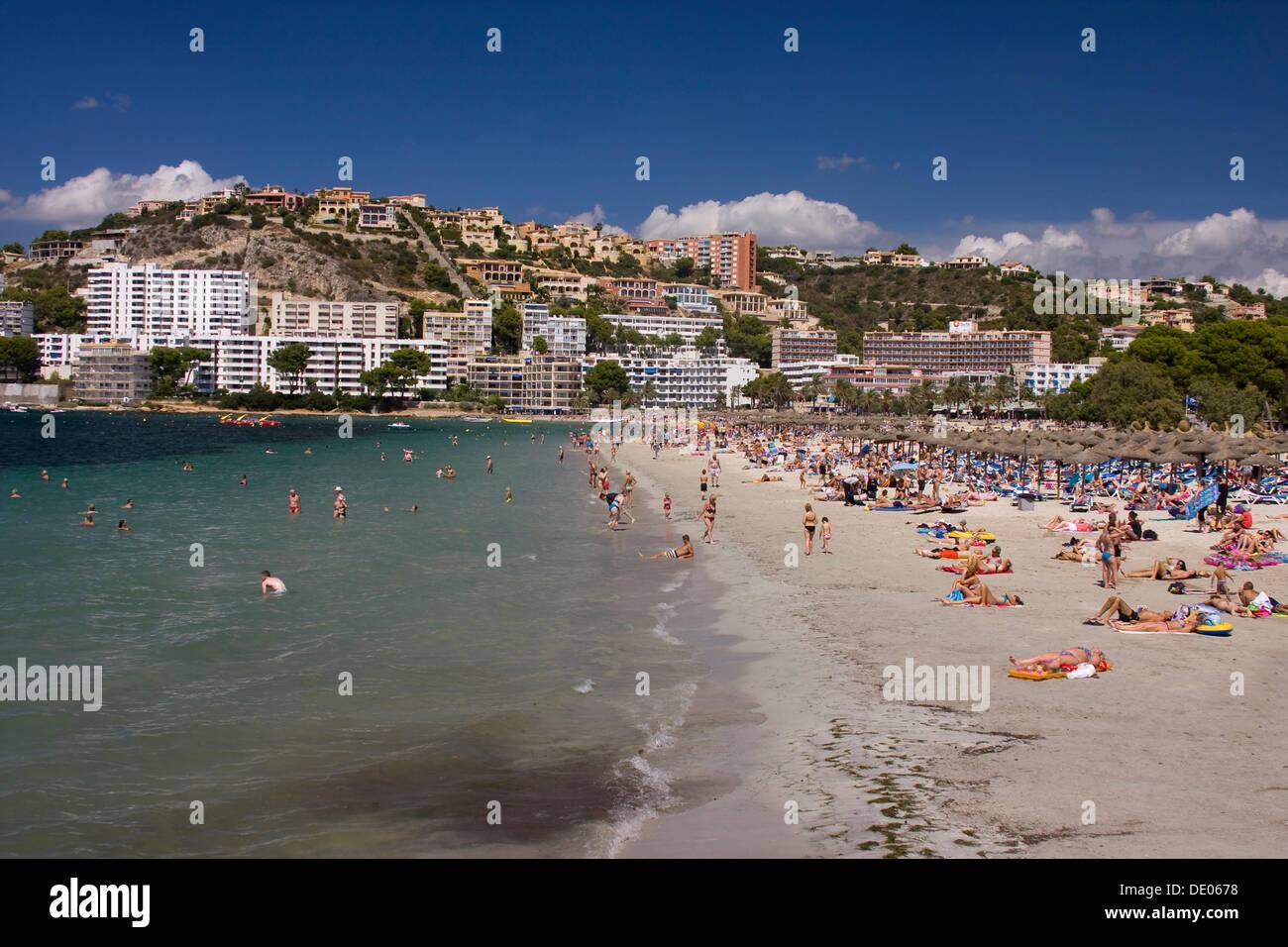 Beach of Santa Ponsa, Majorca, Spain, Europe Stock Photo ...