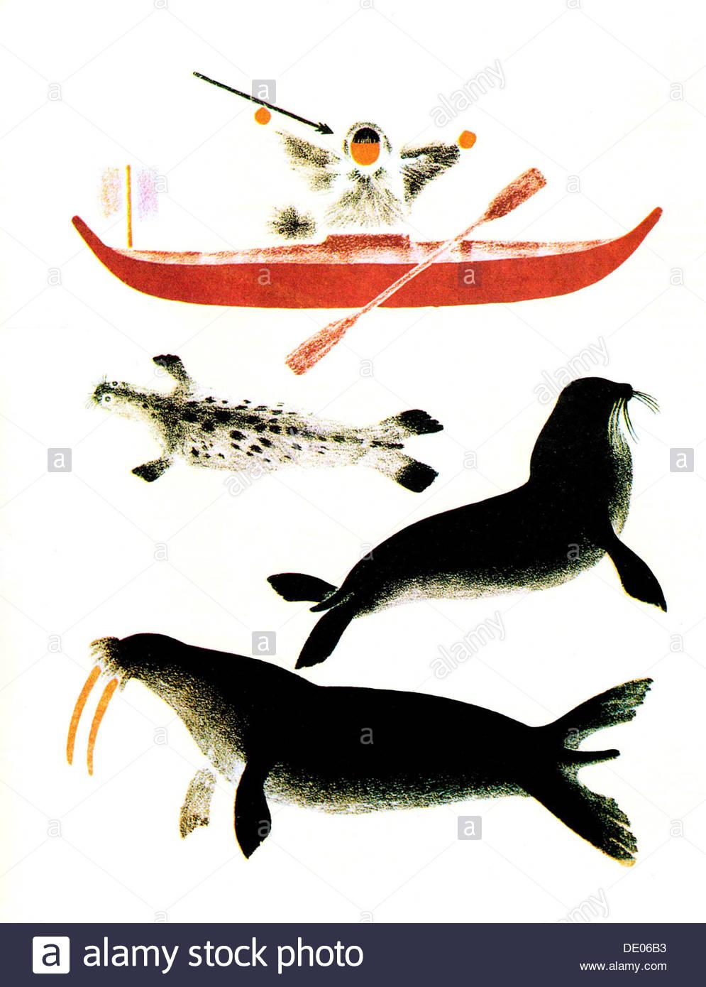 'The Pinniped Hunting', 1925.  Artist: Vladimir Lebedev - Stock Image