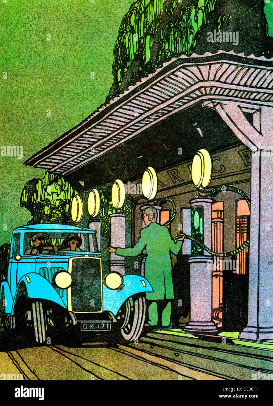 At a filling station, c1930.  Artist: Leslie Carr - Stock Image