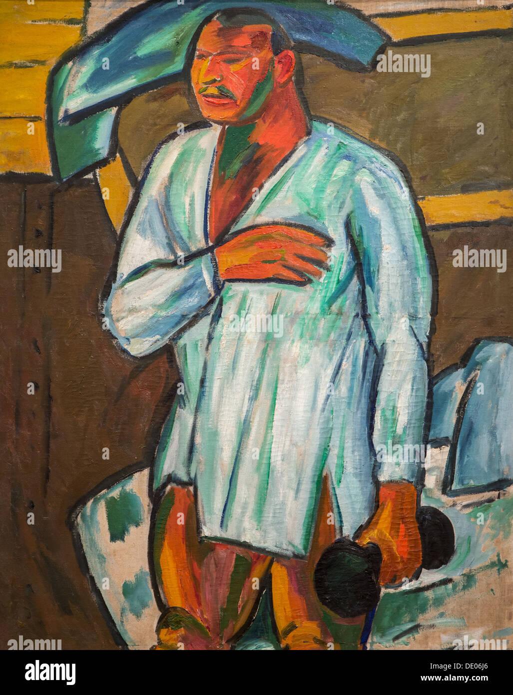20th century  -  Portrait of an athlete (Vladimir Burliuk), 1910 - Mikhail Larionov oil on canvas - Stock Image