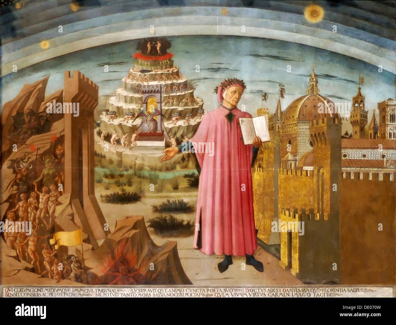 'Dante and the Divine Comedy' (The Comedy Illuminating Florence), 1464-1465.  Artist: Domenico di Michelino - Stock Image