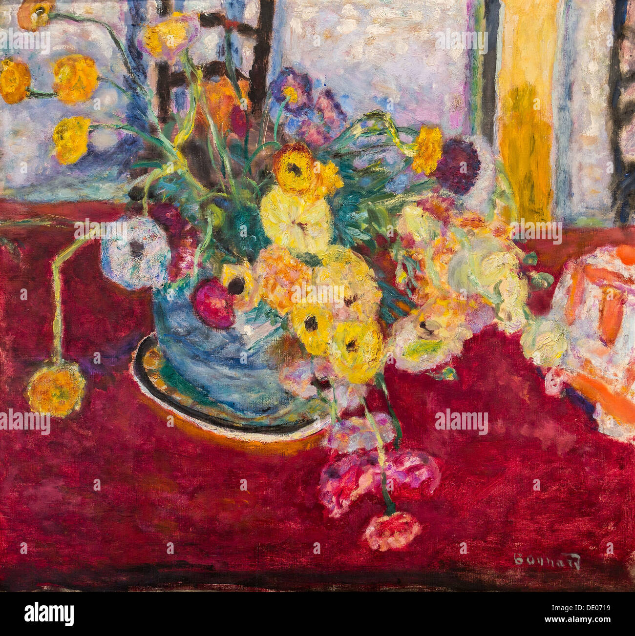 20th century  -  Flowers on a Red Carpet, 1927 - Pierre Bonnard Pilippe Sauvan-Magnet / Active Museum oil on canvas - Stock Image