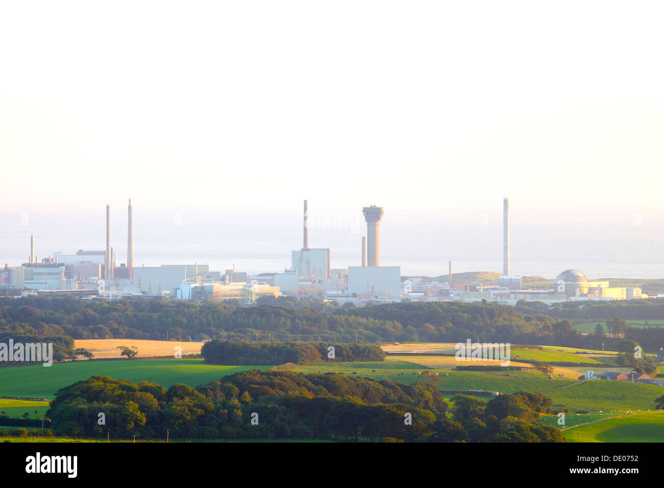 Sellafield nuclear power station in the evening light with the sea behind Cumbria England United Kingdom Great Britain - Stock Image