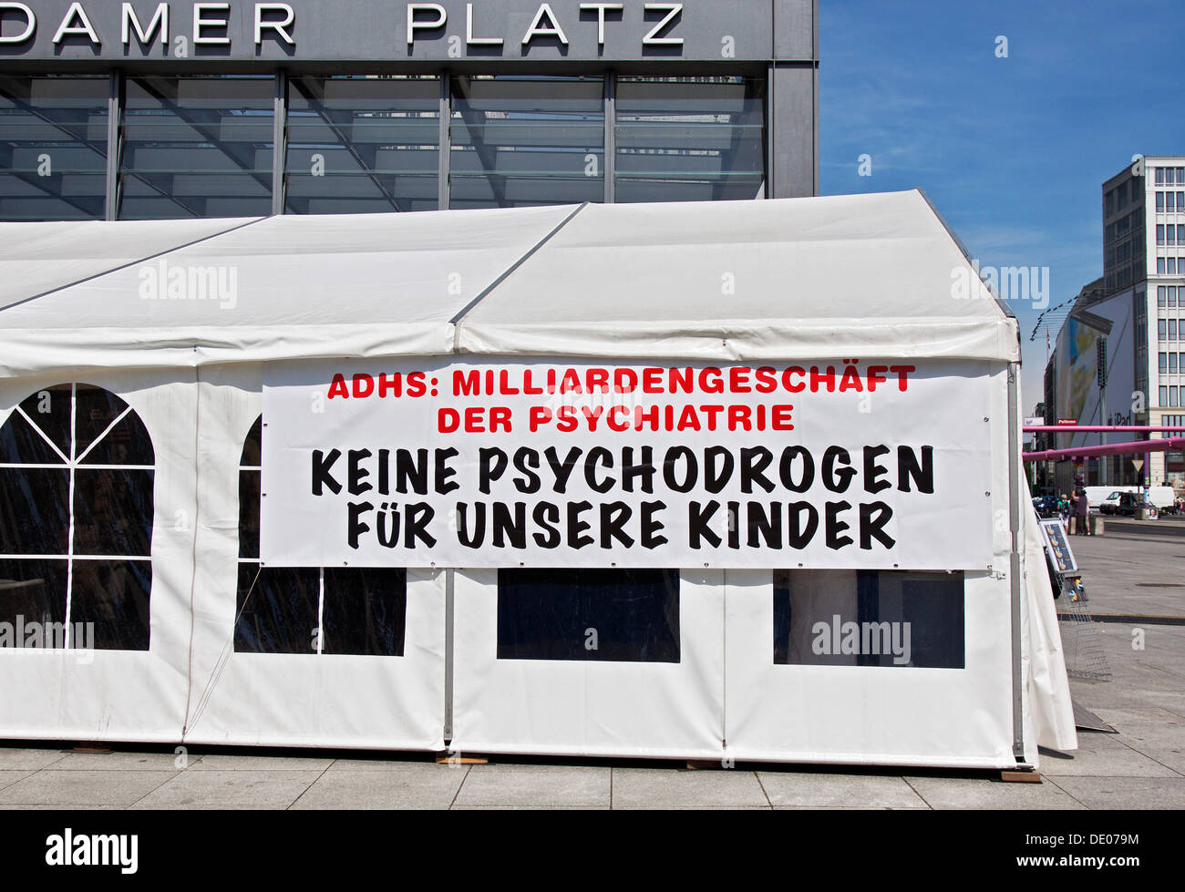 Tent of the Citizens Commission on Human Rights, CCHR, ADHD, poster, lettering 'Milliardengeschaeft der Psychatrie, Keine - Stock Image