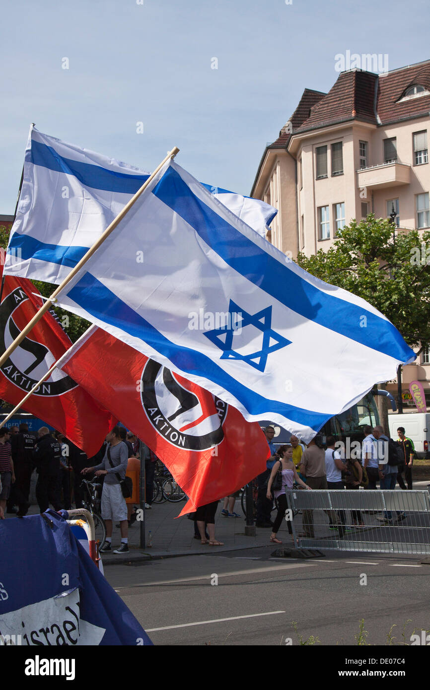 National flags of Israel, rally against the Al-Quds Day, protest against anti-Semitism and Islamism on 18.08.2012 - Stock Image