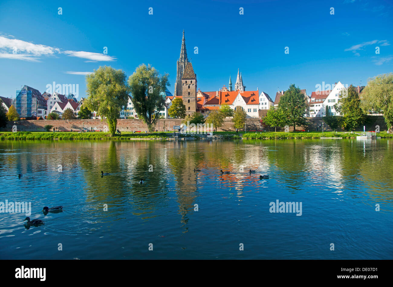 Panorama across the Danube River towards Ulm with Ulm Minster and Metzgerturm, Butchers Tower, Baden-Wuerttemberg, PublicGround Stock Photo