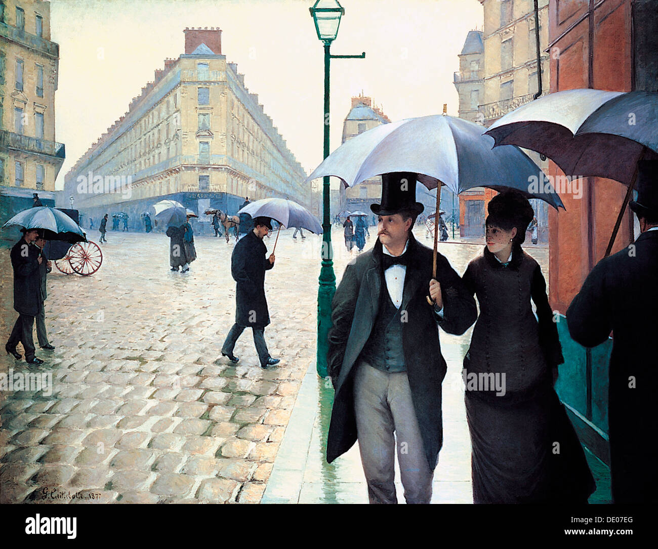 'Paris Street; Rainy Day', 1877. Artist: Gustave Caillebotte - Stock Image