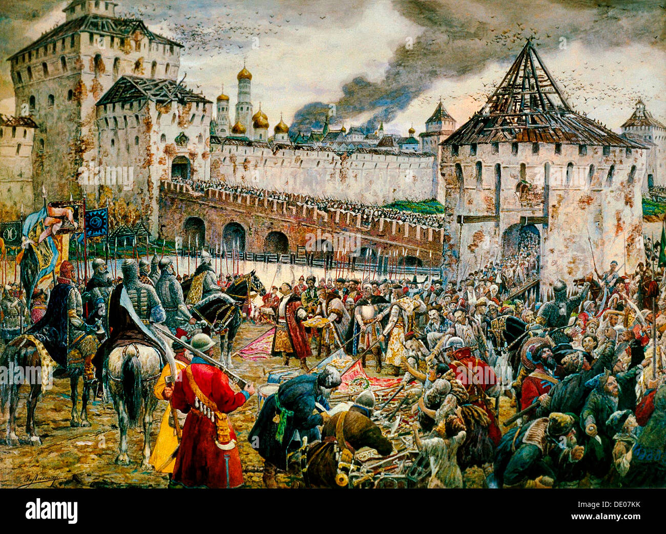 The expulsion of Polish invaders from the Moscow Kremlin, 1612 (late 19th or early 20th century). Artist: Ernest Ernestovich Lis - Stock Image