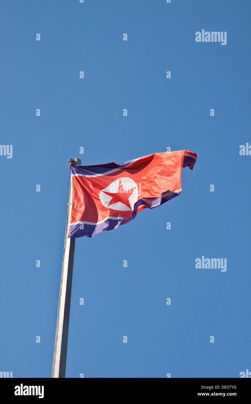 National flag of the Democratic People's Republic of Korea, North Korea, Berlin Stock Photo