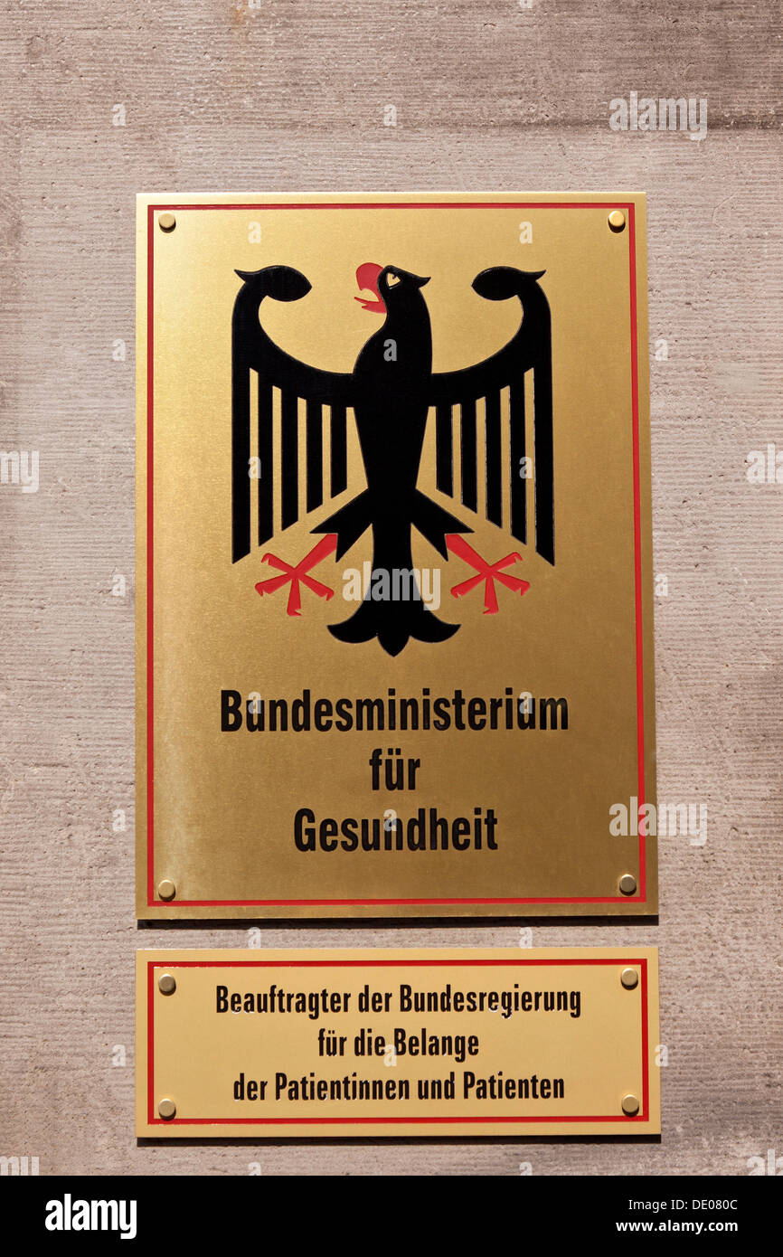 Sign, lettering 'Bundesministerium fuer Gesundheit, Beauftragter der Bundesregierung fuer die Belange der Patientinnen und - Stock Image