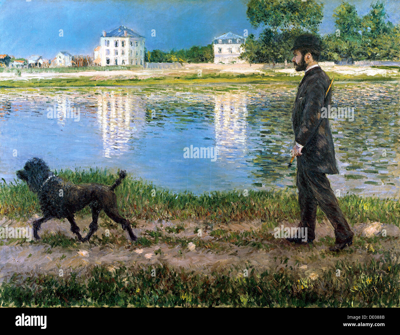 'Richard Gallo and His Dog at Petit Gennevilliers', c1883-1884.  Artist: Gustave Caillebotte - Stock Image