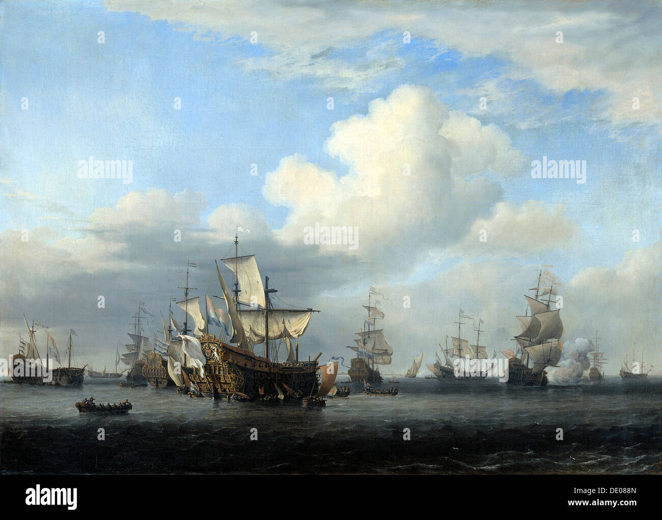 'The captured 'Swiftsure', 'Seven Oaks', 'Loyal George' and 'Convertine...', c1666. Artist: Willem van de Velde the Younger - Stock Image