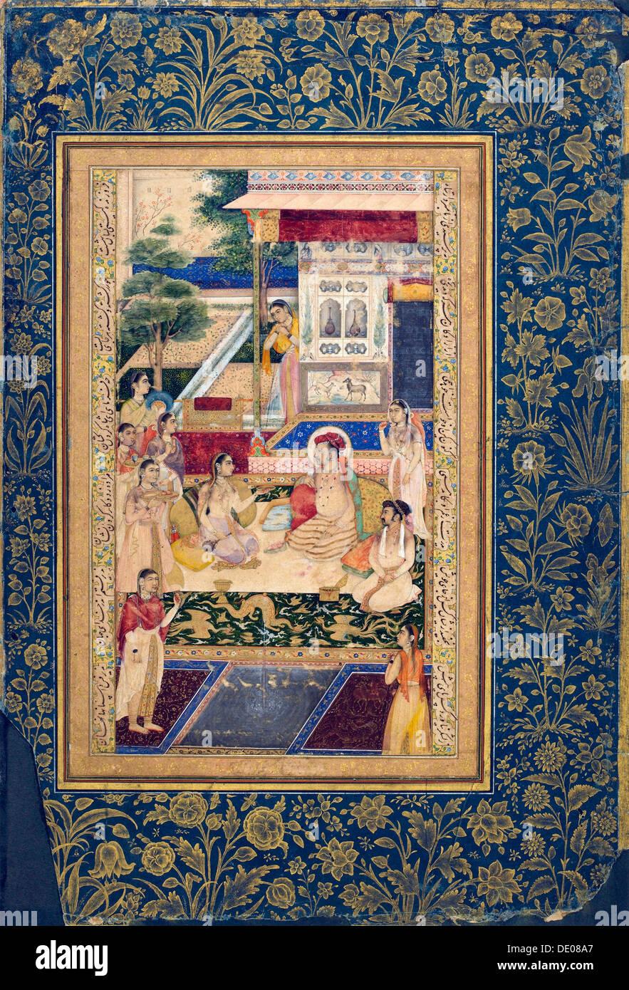Jahangir and Prince Khurram with Nur Jahan, c1624-1625. - Stock Image