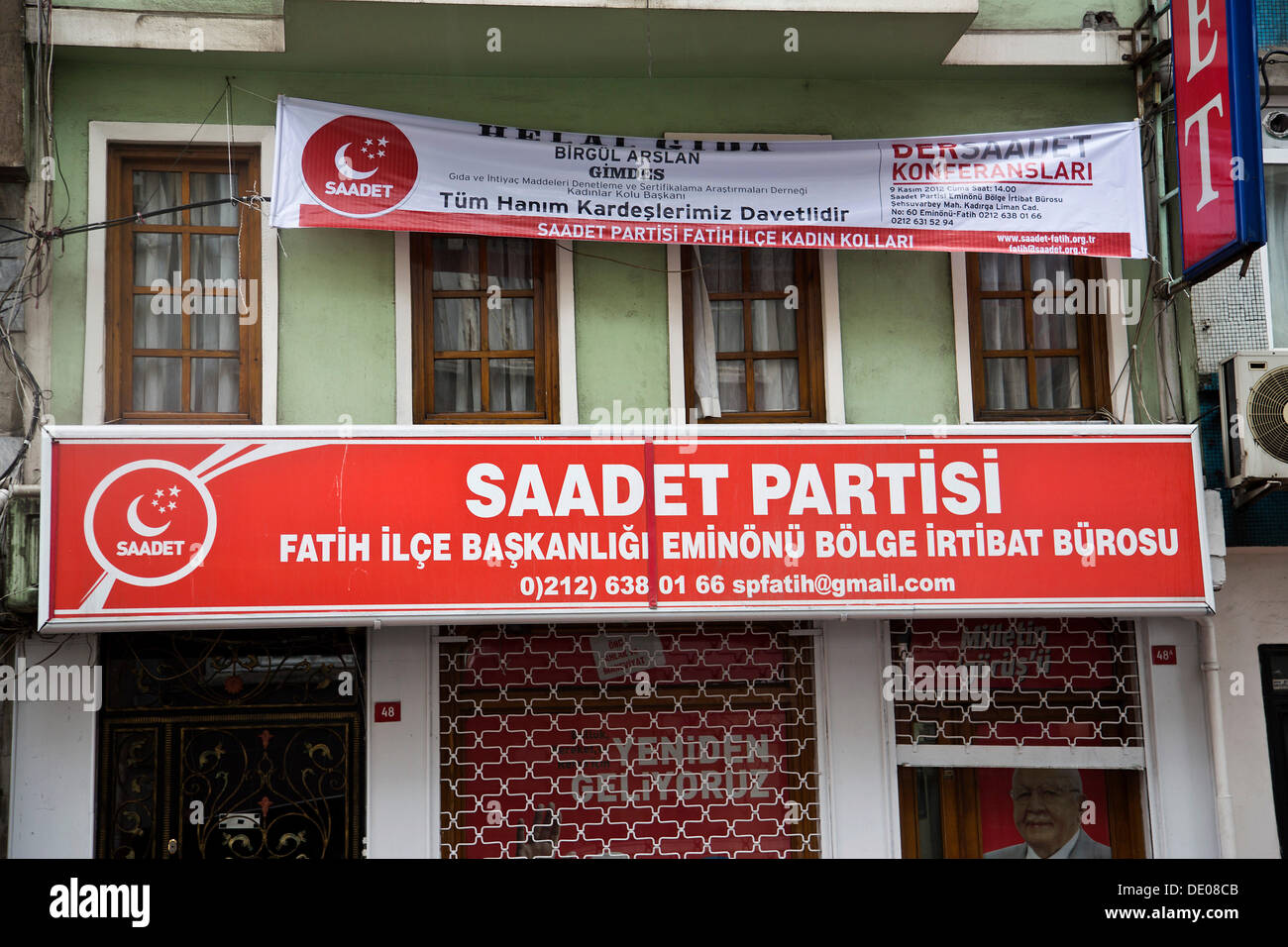 Office of the radical Islamist Saadet Partisi party, Istanbul, Turkey - Stock Image