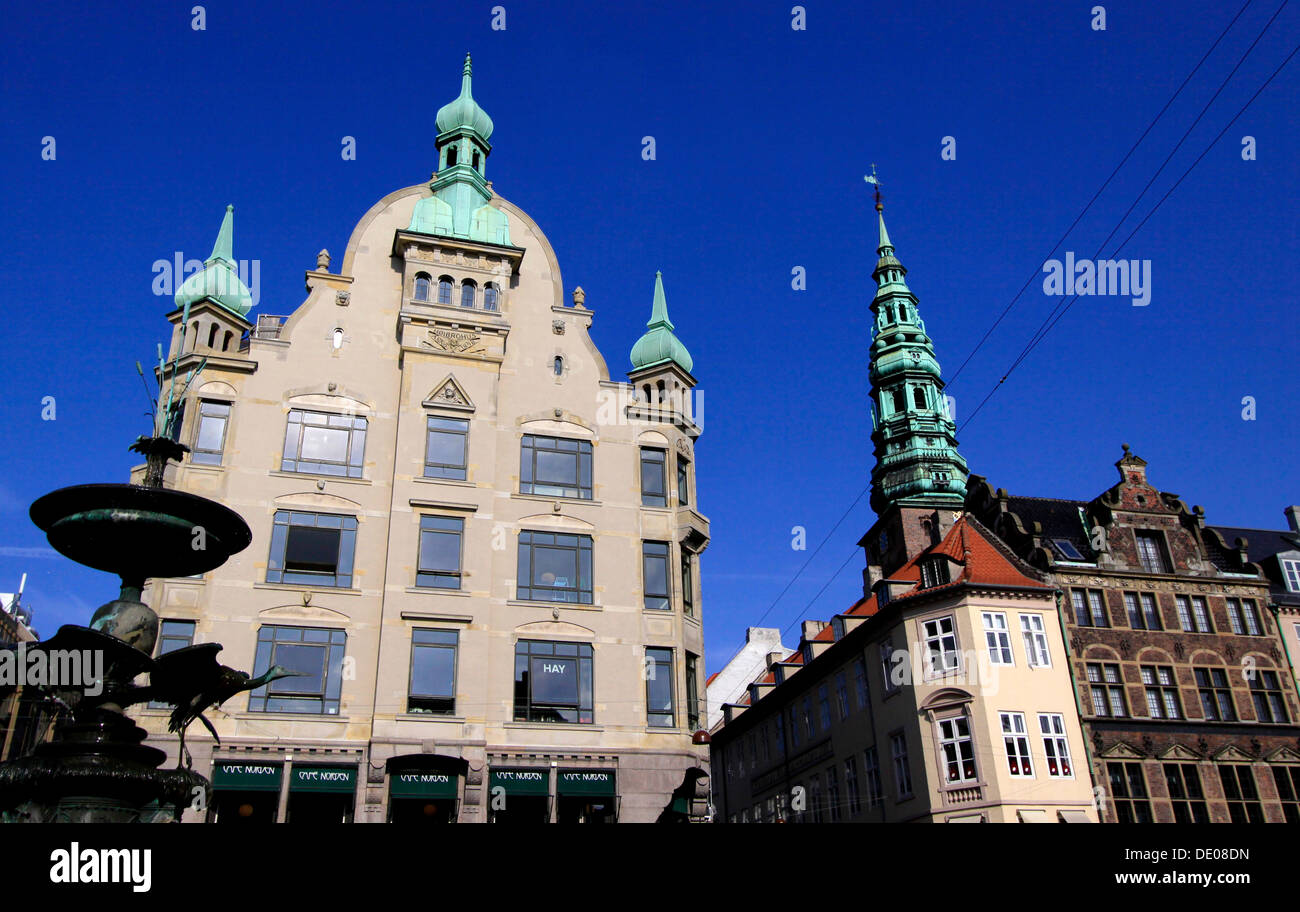 Amager market with part of the stork fountain and Høibrohus building, Copenhagen, Zealand, Denmark, Europe - Stock Image
