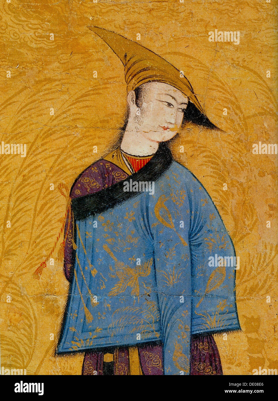 Youth wearing a short fur-lined coat over his shoulder, 1640s.  Artist: Muhammad Yusuf - Stock Image