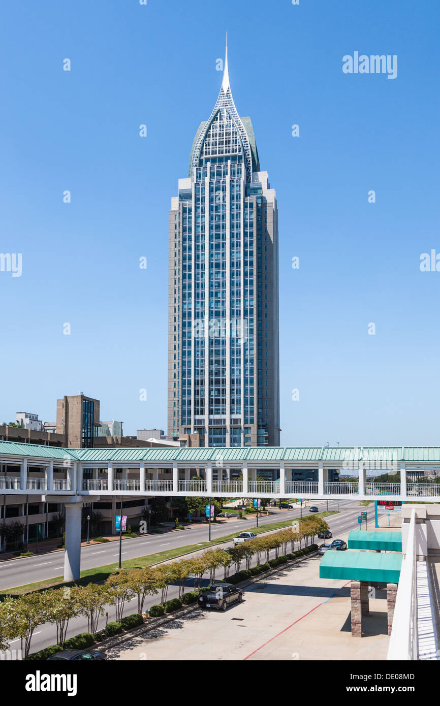RSA Battle House Tower in downtown Mobile is the tallest building in Alabama - Stock Image