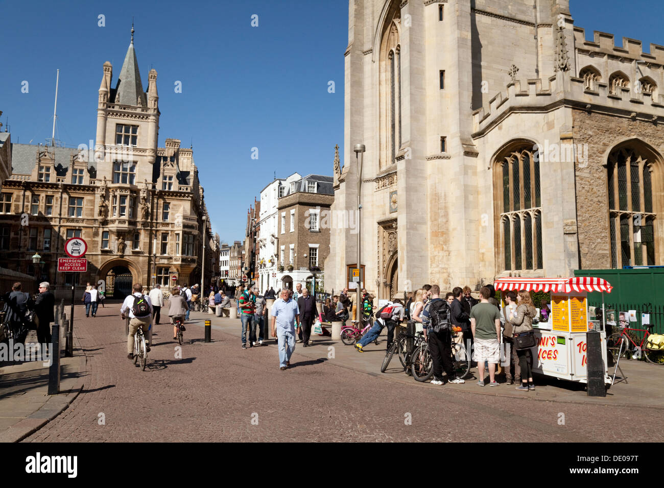 Cambridge city centre on a sunny summers day, top of Kings Parade, Cambridge city, UK - Stock Image