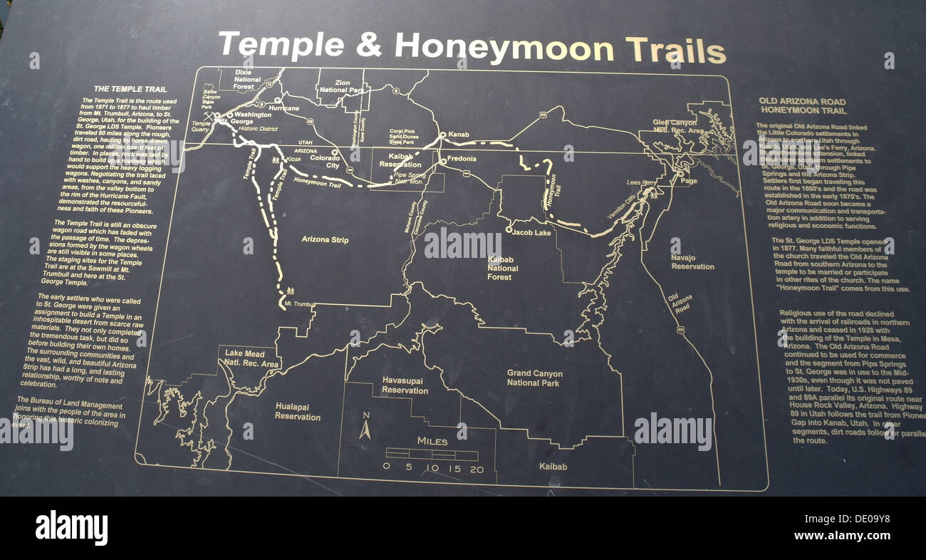 Map Of Arizona Lds Temples.Black Information Sign Illustrating Historic Routes Temple And Stock