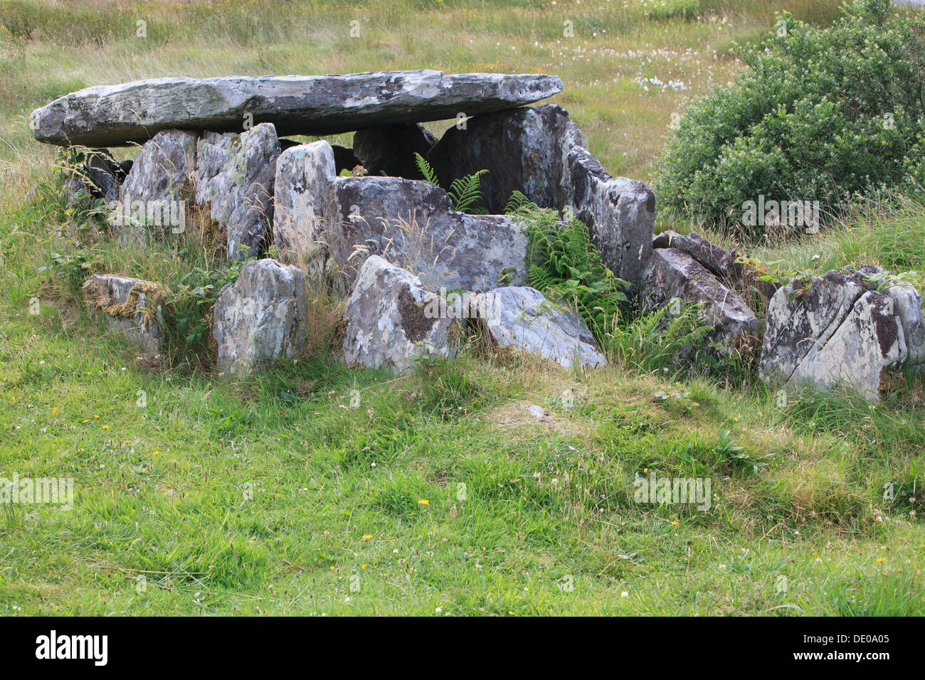 The Yellow River Land megalithic wedge tomb in County Mayo, Ireland - Stock Image