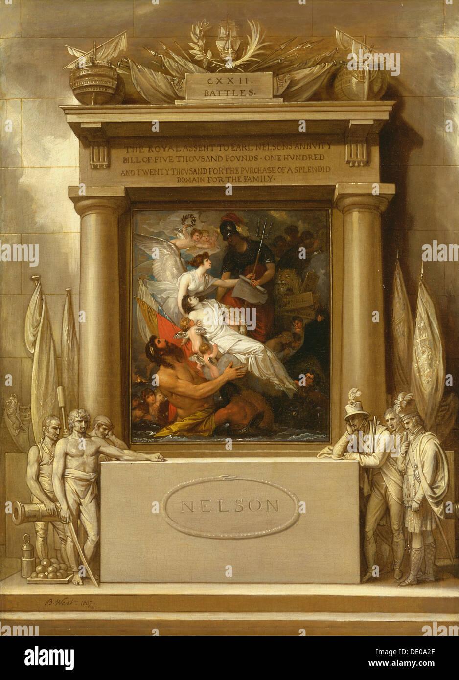 The Apotheosis of Nelson, 1807. Artist: West, Benjamin (1738-1820) - Stock Image