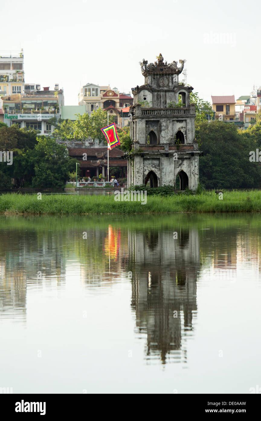 The view of Ngoc Son temple in Hoan Kiem lake, Hanoi, Vietnam - Stock Image
