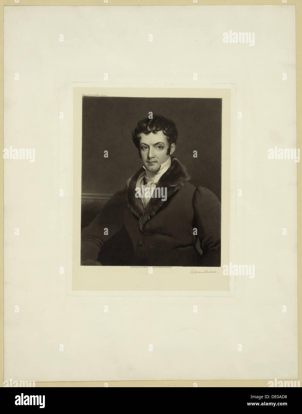 Portrait of Washington Irving (1783–1859). Artist: Sartain, William (1843-1924) - Stock Image