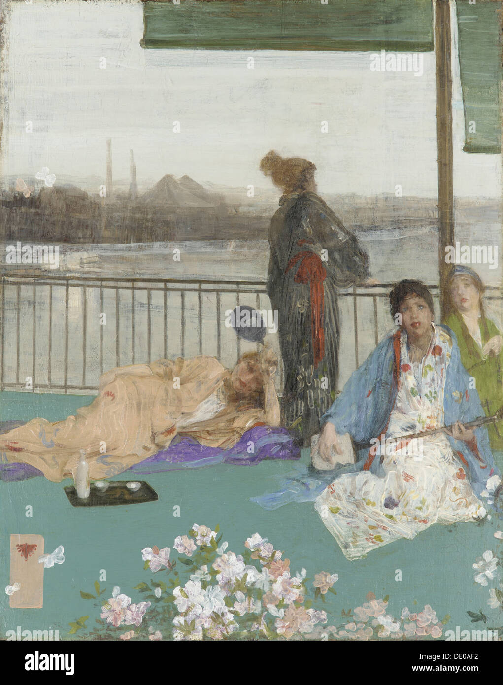 Variations in Flesh Colour and Green: The Balcony, c. 1870. Artist: Whistler, James Abbott McNeill (1834-1903) - Stock Image
